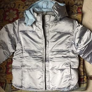 Girl's Silver Down Puffer Hooded Jacket